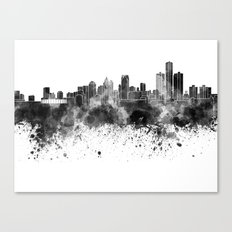 Detroit skyline in black watercolor Canvas Print