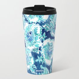 HIBISCUS BOUNTY Blue Tropical Watercolor Travel Mug
