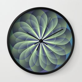 Unfolded petals, floral fractal design Wall Clock