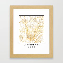 CINCINNATI OHIO CITY STREET MAP ART Framed Art Print