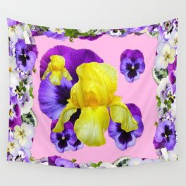 PINK COLOR PURPLE & WHITE PANSIES YELLOW IRIS Wall Tapestry