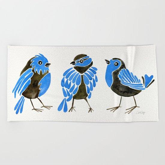 Blue Finches Beach Towel