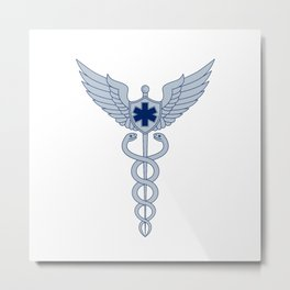 Caduceus With Pilot Wings EMT Star Icon Metal Print