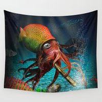 rasta Wall Tapestries featuring Rasta Squid by Al Digit