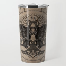 Tree of life - with ravens wooden texture Travel Mug