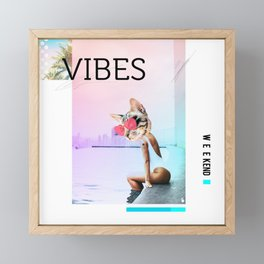 WEEKEND VIBES CAT Framed Mini Art Print