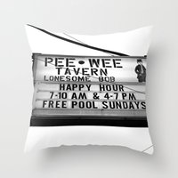 pee wee Throw Pillows featuring Pee Wee tavern sign by Vorona Photography