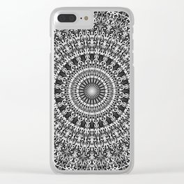 Grey Lace Ornament Mandala Clear iPhone Case