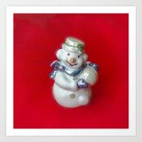 snowman Art Prints featuring Snowman  by Svetlana Korneliuk