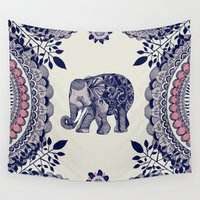boho Wall Tapestries featuring Elephant Pink by rskinner1122