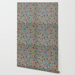 Playful Watercolor dots pattern - silver Wallpaper