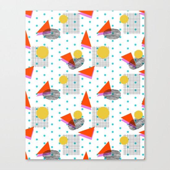 Bounce - abstract minimal retro throwback 1980s grid circle shapes memphis design pattern print art Canvas Print