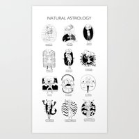 astrology Art Prints featuring Natural Astrology by Coily and Cute