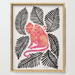 Monkey Cuddles – Pink & Black Palette Serving Tray