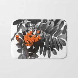 Red Rowan Berries In Black And White Background #decor #society6 Bath Mat