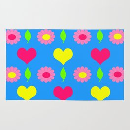 Daisy and heart print, turquoise, pink and yellow Rug