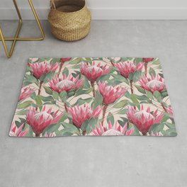 Painted King Proteas on cream Rug