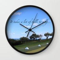 golf Wall Clocks featuring Golf by Rebecca Bear
