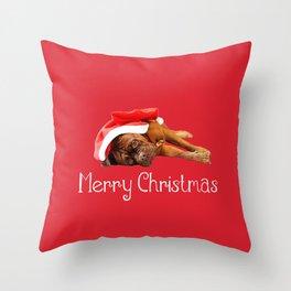 Dogue De Bordeaux Santa Hat Merry Christmas Throw Pillow
