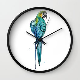 Parrot Watercolor | Endangered Birds Collection Wall Clock