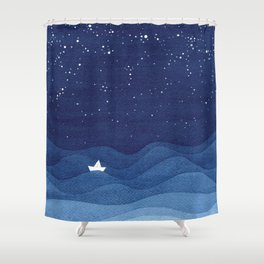 blue ocean waves, sailboat ocean stars Shower Curtain
