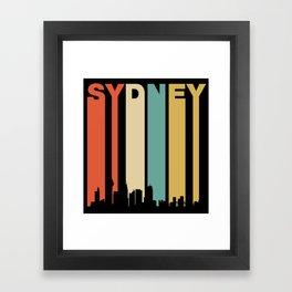 Retro Sydney Australia Cityscape Downtown Skyline Framed Art Print