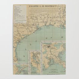 Vintage US Gulf of Mexico Lighthouse Map (1898) Poster
