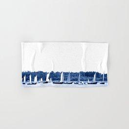 Dutch sailing boats in Delft Blue colors Hand & Bath Towel