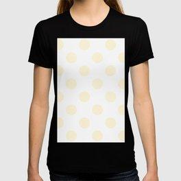 Large Polka Dots - Cornsilk Yellow on White T-shirt