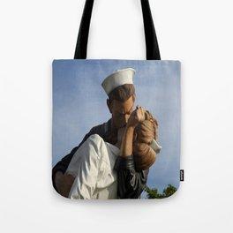 Kissing Sailor And Nurse Portrait Tote Bag