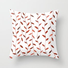 Red Watercolor Vines Throw Pillow