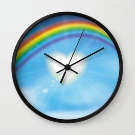 Rainbow sky sun heart Wall Clock