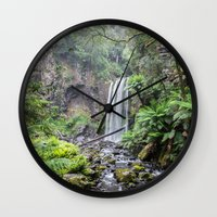 waterfall Wall Clocks featuring Waterfall by Michelle McConnell