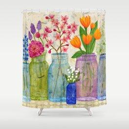 Springs Flowers in Old Jars Shower Curtain