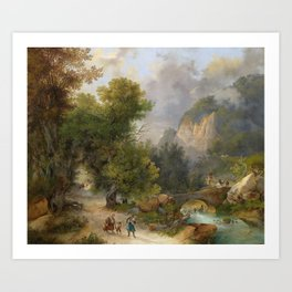 19th Century Artist Large Mountain Landscape with Farmers Returning Home Art Print