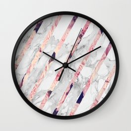 Rose Marble Stripes Wall Clock