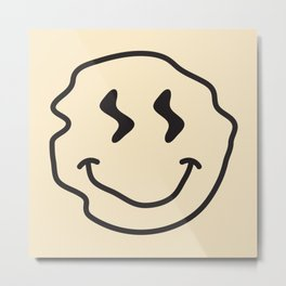 Wonky Smiley Face - Black and Cream Metal Print
