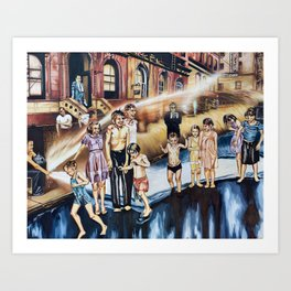 Weegee's Summer on the Lower East Side in color Art Print