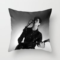 alex turner Throw Pillows featuring Alex Turner // Arctic Monkeys by Hattie Trott