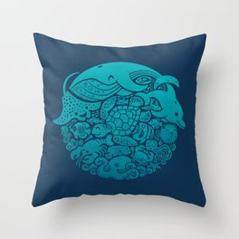 Aquatic Spectrum Throw Pillow