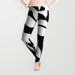 PALM LEAF VINE SWIRL BLACK AND WHITE 2020 Leggings