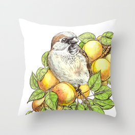 Sparrow on an apricot branch Throw Pillow