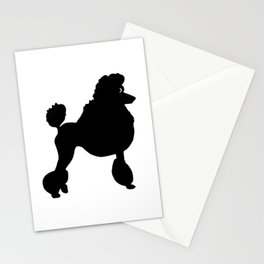 Poodle Dog Breed black Silhouette Stationery Cards