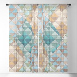 Triangle Patter No.15 Shifting Teal and Yellow Sheer Curtain