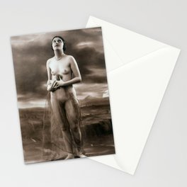 Vintage Nude Art Studies No.65 Lady Looking Towards Sky Stationery Cards