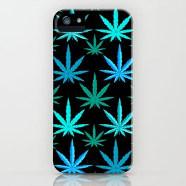 Marijuana Teal Turquoise Weed iPhone Case