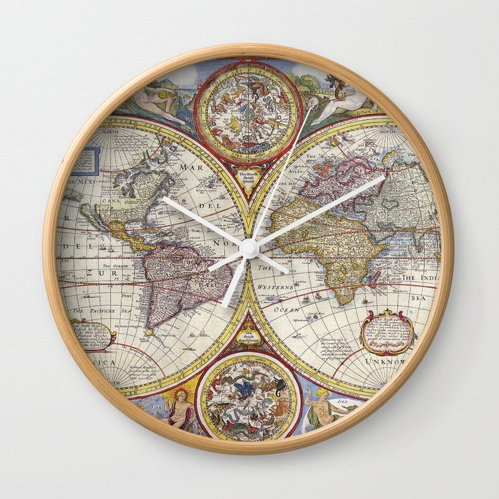 Vintage world map wall clock by peggieprints society6 vintage world map wall clock gumiabroncs Gallery