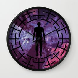 Black labyrinth man silhouette Wall Clock