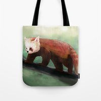 red panda Tote Bags featuring Red Panda by Ben Geiger