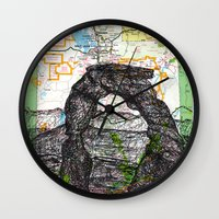 utah Wall Clocks featuring Utah by Ursula Rodgers